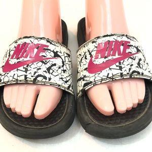 Nike slides black pink white sandal flats size 7